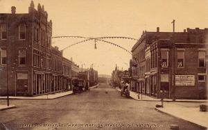 Huntington Indiana~Jefferson Street~Light Bulb Arch~Times~Union Made Cigars~1909
