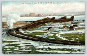 Duluth MN~Ore Docks Panorama~DM&NRR Co~Railroad Tracks Curve to Waterfront~1910