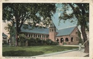 Postcard Public Library Malden Mass