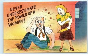 Postcard Never Underestimate the Power of a Woman Wife Beating Husband Abuse A45