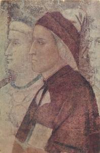 Nel VI Centenario Dantesca E. Sborgi postcard Dante fresco di Giotte