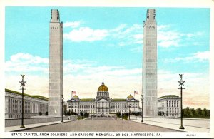 Pennsylvania Harrisburg State Capitol From Soldiers and Sailors Memorial Brid...