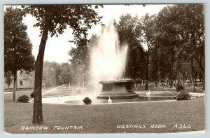 Hastings Nebraska~Rainbow Fountain~Swans on Each Side~1940s RPPC