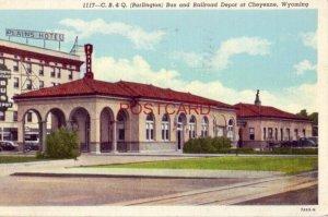 1945 C. B. & Q. (Burlington) BUS AND RAILROAD DEPOT, CHEYENNE, WYOMING