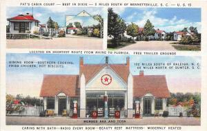 A38/ Bennettsville South Carolina SC Postcard Pat's Cabin Court Gas Station c'30