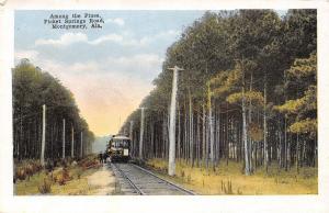 Montgomery Alabama~Picket Springs Road~Trolley Train Stop~Men on Tracks~1915 PC