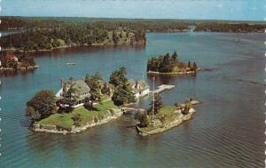 Aerial View, Shortest International Bridge, Zavikon Island, THOUSAND ISLANDS,...