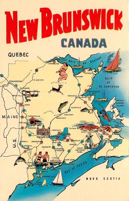 Postcard New Brunswick Canada Map Maine Us Nova Scotia Quebec