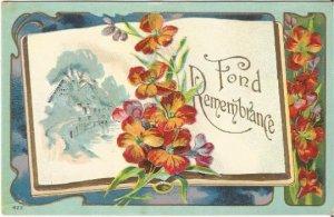 Cottage Scene Open Book Orange Day Lily Vintage Postcard