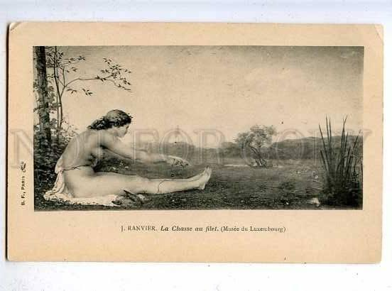 185592 HUNT Nude Nymph DIANA Goddess WOODCOCK by RANVIER old