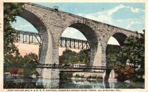 Vintage Postcard 1917 Foot Bridge & Crossing Brandywine Creek Wilmington Del.