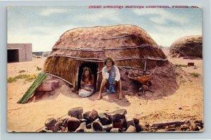 Phoenix AZ-Arizona, Indian Dwellings Maricopa Reservation Vintage Postcard