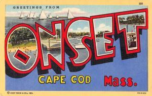 Onset Massachusetts Greetings From large letter linen antique pc Z49714