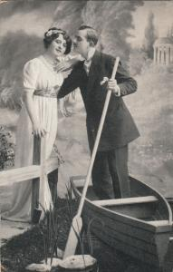 Couple love boat early postcard