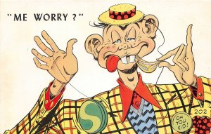G7/ Alfred E Neuman Postcard Chrome Me Worry? Oh You Kid 4