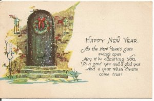 Christmas Wreath on Home Door Happy New Year Vintage Postcard Holiday Greeting