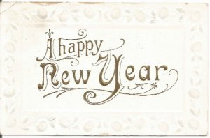 Fancy White Embossed Vintage Postcard A Happy New Year