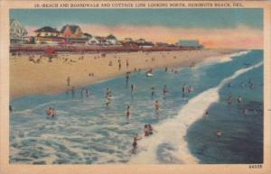 Delaware Rehoboth Beach Boardwalk Beach and Cottage Line Looking North  1954
