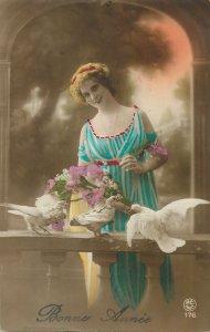 Glamour ladies head decoration early fashion postcard portrait birds seagul