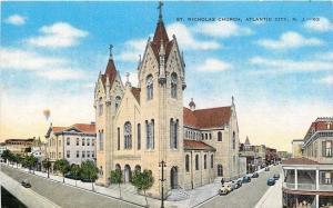 Atlantic City New Jersey~St Nicholas Roman Catholic Church~Downtown Shops~1940s