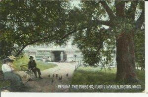 Boston, Mass., Public Garden, Feeding The Pigeons