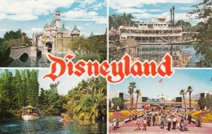 DISNEYLAND, 1950s-60s; Sleeping Beauty Castle, Mark Twain Steamboat, Jungle C...