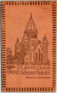 c1900s Schenectady, New York LEATHER Postcard St. John's Church (New) UNUSED