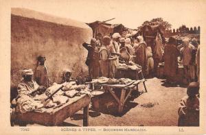 Morocco Merchant Butchers Market Scene Africa Antique Postcard K68472