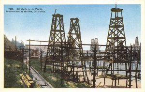 Postcard c1915-30 Oil Wells in the Pacific Summerland by the Sea California 68Y