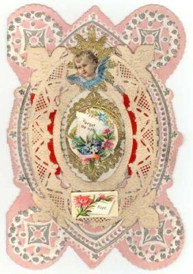 Vintage Die-Cut Layered Paper Lace Valentine,  ANGEL