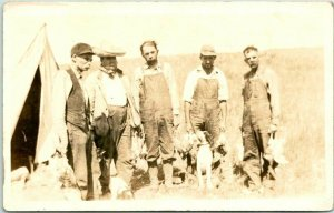 RPPC Real Photo Postcard HUNTING SCENE Men w/ Dead Birds / Dogs c1910s Unused