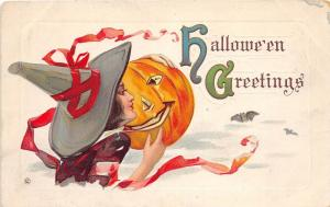 E14/ Halloween Holiday Postcard c1910 Series 332A Witch Jack-O-Lantern 6