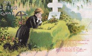 Am Eltern Grab German Mothers Grave Antique Postcard