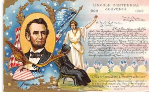 Lincoln Centennial Souvenir USA Writing on back