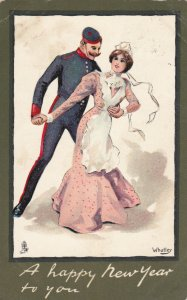 AS; WHATLEY, PU-1904; A happy New Year to you, Bellhop & maid dancing, TUCK 1806