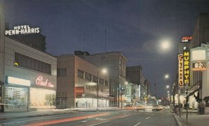 HARRISBURG, Pennsylvania, 40-60s; Downtown at Night, looking North on Market St.