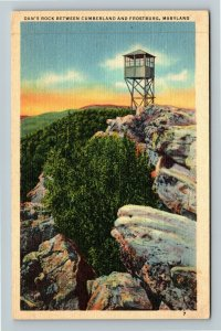 Cumberland MD-Maryland, Dan's Rock, Linen Postcard