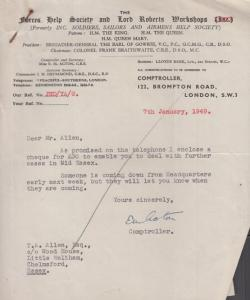 Forces Help Society Fund Raising 1949 Post WW2 Essex Military Receipt Letter