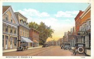 St Stephen New Brunswick Canada Water Street Scene Antique Postcard K59960