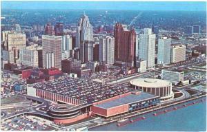 Air View Civic Center & Skyline Detroit Michigan MI 1966