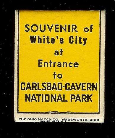 CARLSBAD CAVERNS Entrance 1940's Full Unstruck Matchbook