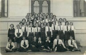 Romania school social history early photo postcard schoolgirls teacher
