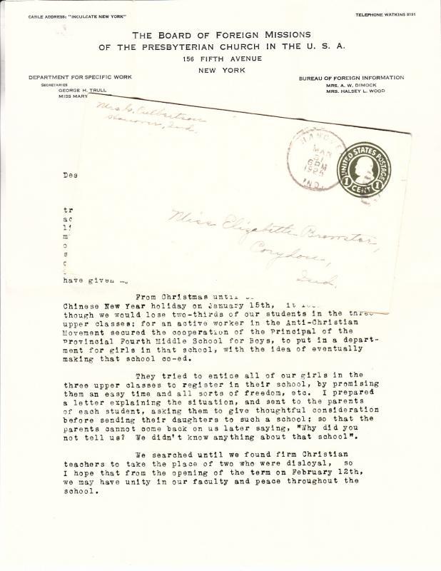 China Missions Letter Margaret Duncan 1925