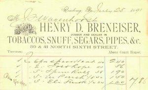 READING PA - HENRY BRENEISER - INVOICE / Snuff Segars Pipers 1891