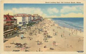 Beach Looking East 1954 Old Orchard Beach Maine linen Teich postcard 9996