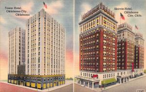 Tower Hotel and Skirvin Hotel, Oklahoma City, Oklahoma, Early Postcard, Unused