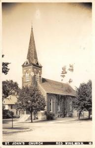 Red Wing Minnesota~St John's Church~Houses in Background~1947 RPPC Postcard