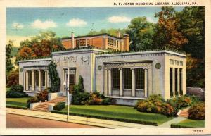 B F Jones Memorial Library Aliquippa Pennsylvania 1939 Curteich