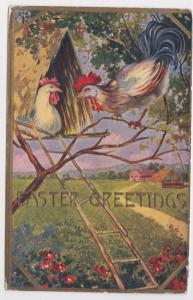Rooster and Hen in Treehouse Chickens  Easter Greetings Postcard A35
