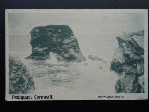 Cornwall NEWQUAY Norwegian Rocks c1908 Postcard by London Stereoscopic Co.